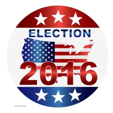 Election 2016 with USA Flag in Map Silhouette Illustration